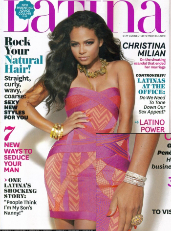 Latina Magazine Cover Features Christina Milian Wearing Lisa Freede's 2 Line Crystal Wrap Bracelet