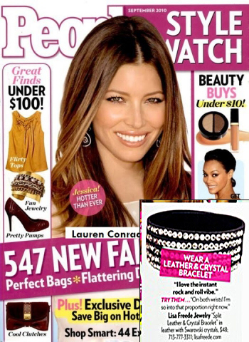 Peaople Style Watch Magazine Cover Jessica Beil Features Lisa Freede Jewelry Tripple Crystal Cut Leather Bracelet