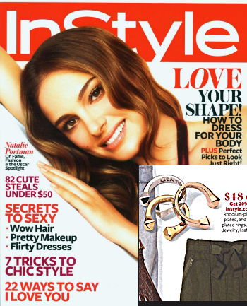 InStyle Magazine Features Lisa Freede Adjustable Stud Rings