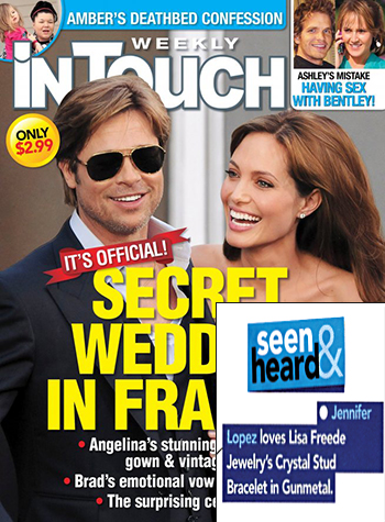 InTouch Magazine Seen And Heard Section Loves Lisa Freede Jewelry Crystal Stud Bracelet In GunMetal